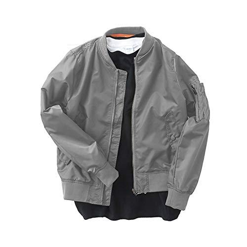 FACAI Vestes Décontractées pour Hommes Blousons d'aviateur Légers Et Ajustés Vêtements D'extérieur Classiques Manteaux Coupe-Vent,Grey-XXS