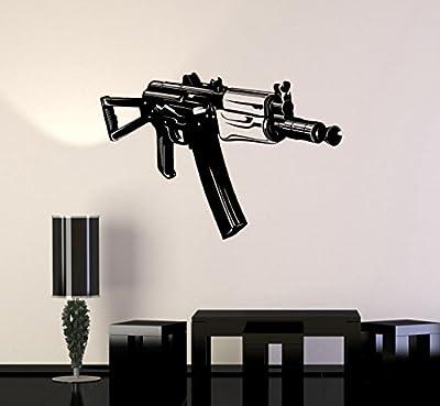 Wall Stickers Vinyl Decal AK-47 Machine Gun Weapon Army Military Decor (z2233i)