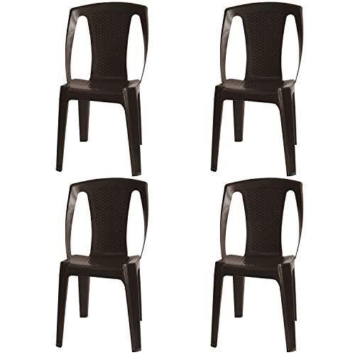 PROGARDEN - Set di 4 sedie impilabili 'Procida', in plastica, effetto rattan, colore caffè
