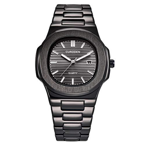 Edelstahl Luxury Herren Fashion Nautilus Analog Sport Quarz Wrist Uhren Schwarz