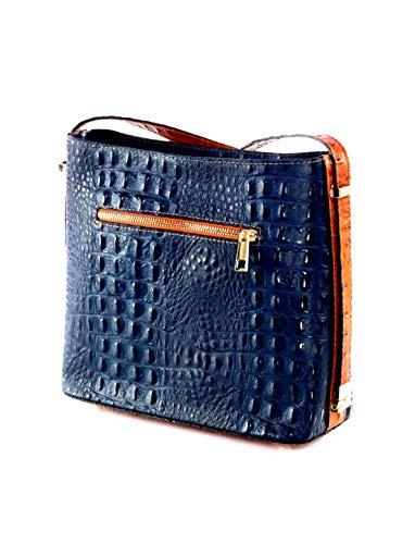 AVANTI Moda Women's Leather Handbag Style: Luana 5723 (Navy Blue)