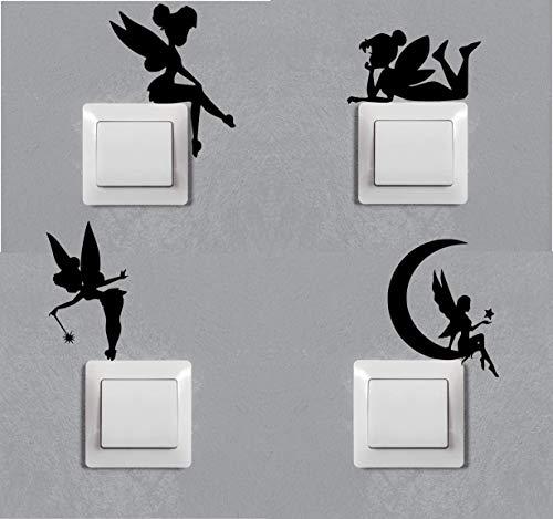 Cuatro modelos vinilo de hadas de la suerte. Pegatina negra con diseños de hada para enchufes o llaves de luz. Todo tipo de superficies secas
