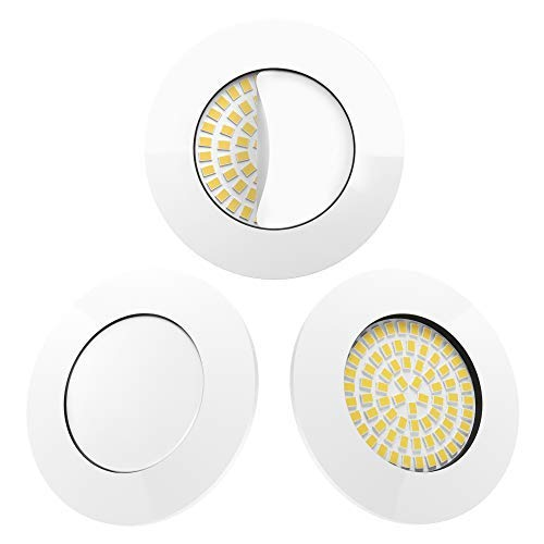 Scandinavian home 3er Set LED Einbaustrahler Weiß   ultra flach Badezimmer geeignet   warmweiß 220 / 230V CRI 90 5W 500lm 3000K Milchglas   LED Spot Deckeneinbauleuchte 60-68mm