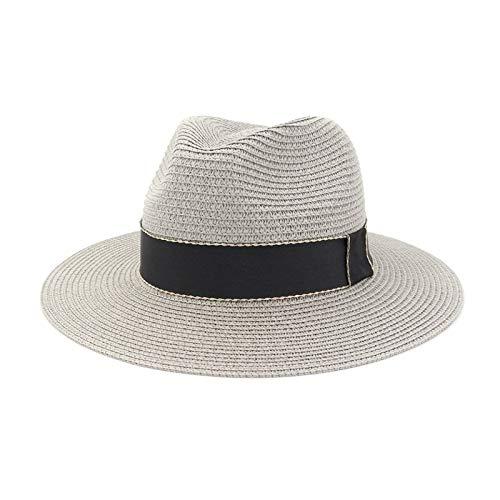 LLPBEAU-hat Sombrero de Verano para Las Mujeres Sombrillas de Sol Sombreros de Panamá con Sombrero de ala Ancha Playa Sunhat Protección UV Playa Gorra (Color : Gray, Size : 56-58cm)