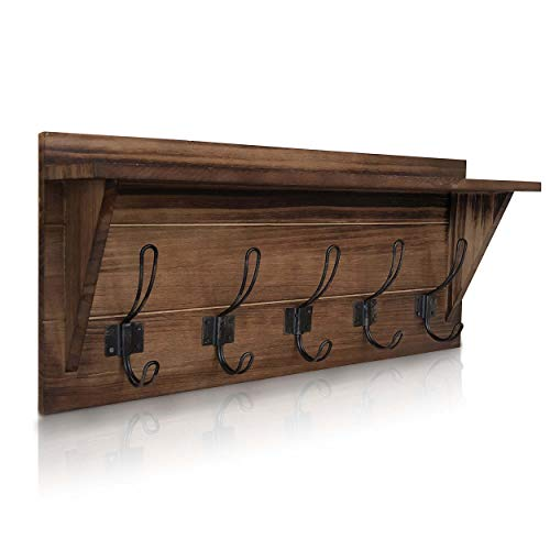 Rustic Wall Mounted Coat Rack Shelf - Brown Wooden Country Style 24' Entryway Shelf with 5 Rustic Hooks - Solid Pine Wood. Perfect touch for your Entryway, Mudroom, Kitchen, Bathroom and More (Brown)