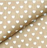 0,5m Stoff Herzen beige weiß 100% Baumwolle Meterware Herz