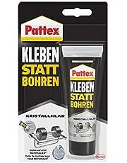Pattex Lijmen in plaats van boren kristalhelder, montagelijm voor kristalheldere verlijmingen, bouwlijm voor alle materialen, universele lijm voor binnen en buiten, 1 x 90 g