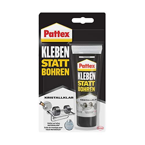 Pattex Kleben statt Bohren Kristallklar, Montagekleber für kristallklare Verklebungen, Baukleber für alle Materialien, Universalkleber für innen & außen, 1x90g