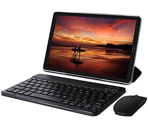 10 Zoll Tablet 4GB RAM 64GB ROM Tablette mit Tastatur und Maus, Android 10, 8000 mAh Akku, 5MP + 8 MP Dual Kamera, WiFi, Bluetooth, MicroSD 4-128GB, Schwarz