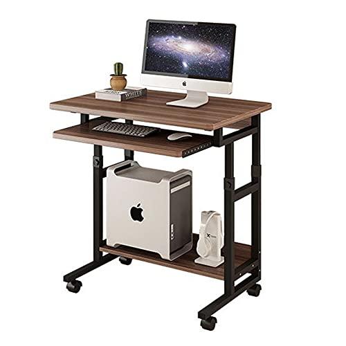 LICHUAN Escritorio de ordenador con ruedas y estante elevado para monitor ajustable, mesa para el hogar, oficina, portátil, para sala de estar, dormitorio, color marrón