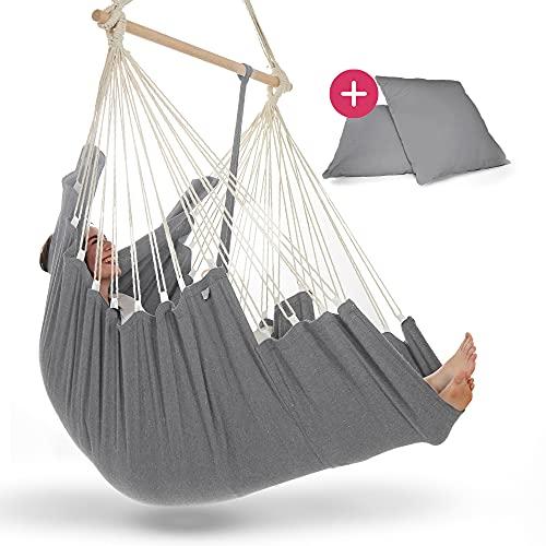 NearDistance Hamaca colgante, perfecta para desconectar, relajarse y sentirse bien, con reposapiés y cojín, columpio de interior para niños y adultos (gris claro).