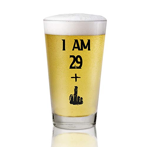 I Am 29+ 1 Middle Finger, 16 oz Pint Glasses Party Decorations Supplies, Funny 30th Birthday Beer Glass, Funny 30th Birthday Gifts for Men or Him, Craft Beers Gift Ideas for Dad Mom Husband Wife 30 th