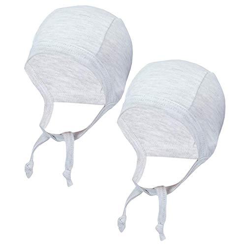 TupTam Unisex Baby Erstlingsmütze zum Binden 2er Pack, Farbe: Grau Meliert, Größe: 50/56