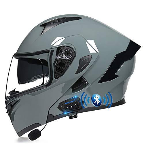 BDTOT Motocicleta Casco Modular de Doble Volteo Bluetooth Visera del Completo ECE/Dot Certificado en MP3 FM Broadcast Integrado de Intercomunicación Sistema de Comuni 57-62CM