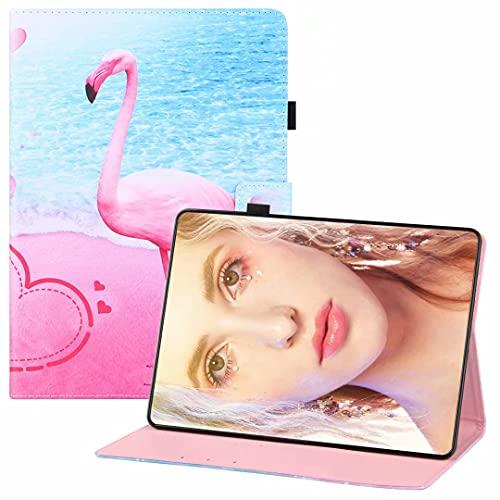 CRABOT Compatible con Lenovo Tab P11/J606F Tablet Case Flip Wallet Funda de cuero de protección completa a prueba de golpes Anti-arañazos ranuras para tarjetas Auto Wake/Sleep Cover-Flamingo