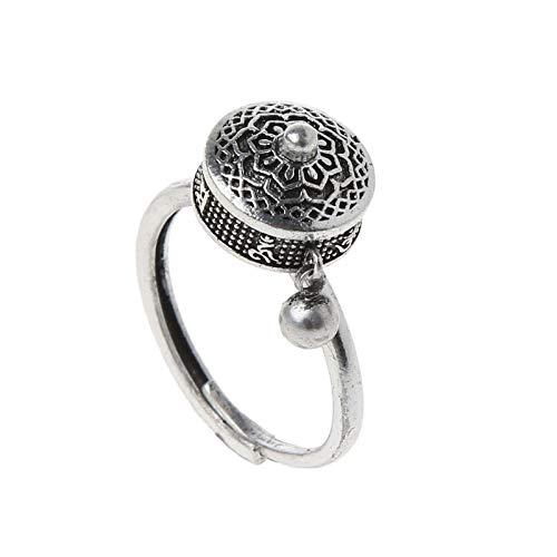 SHAOKAO Anillos giratorios budista tibetano oración anillo de rueda OM mantra Lotus Floral anillo para hombre negro y plata