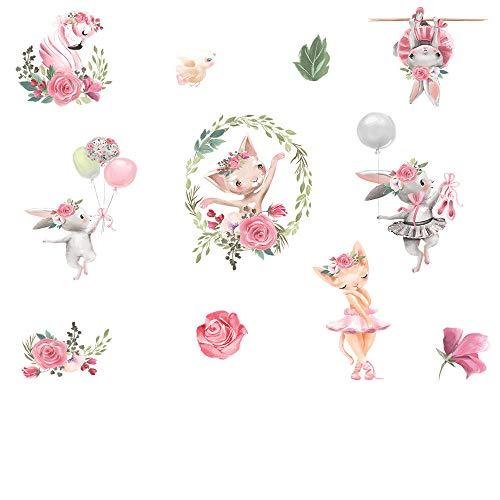 U/N Dancing Rabbit Shy Flamingo Etiqueta de la Pared bebé niños Puerta de la habitación decoración Encantadora Ventana azulejo Autoadhesivo pegatina57x90cm