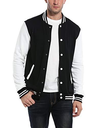 COOFANDY Men Fashion Long Sleeve Button Front Cotton Bomber Baseball Jacket(Black,Large)