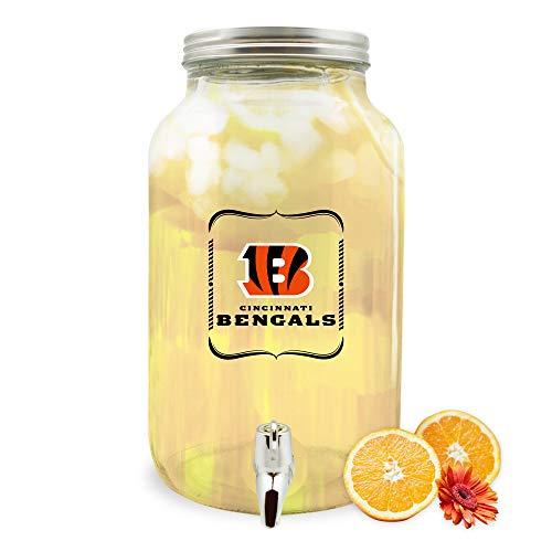 NFL Cincinnati Bengals Glass Drink Dispenser / Sun Tea Jar, 5 Liter