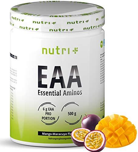 EAAs Powder Vegan 500g - Highest DOSE - All Essential Amino acids - Mango-Passion Fruit Flavor EAA - Nutri-Plus Sports - Essential Amino's