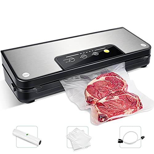 Vacuum Sealer 80Kpa Stainless Steel Food Sealer Machine Air Sealing System for Food Saver Storage with Dry and Moist Modes Starter Kit with Holder, Roll/Bags & Hose