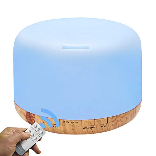 COSSCCI Aromatherapy Essential Oil Diffuser Humidifier, 500ML Ultrasonic Cool Air Mist Humidifier with Remote Control, Auto Shut-Off, Timers Setting for Baby Bedroom Home Office Large Room