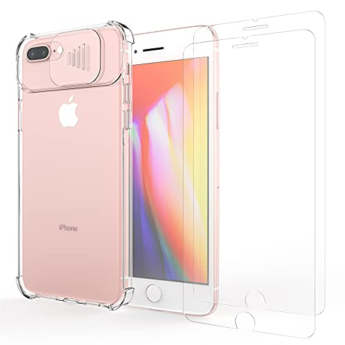 Cover con Protezione Scorrevole Fotocamera per iPhone 7 Plus/8 Plus, con [ 2 x Pellicola Protettiva Vetro Temperato] Bumper Protettiva Ultra Sottile Leggero Custodia Graffio Duro PC Cover-Trasparente