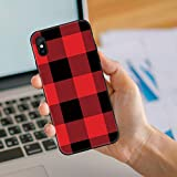 for iPhone 7 Puls Case, iPhone 8 Plus Case, Soft Silicone Gel Rubber Bumper Case Red and Black Buffalo Plaid Decorative Xmas New Year Holiday Pattern Shockproof TPU Case Cover for Phone