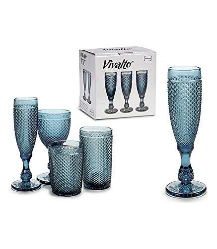 Vivalto Set De Copas Vivalto Azul 0,185 L