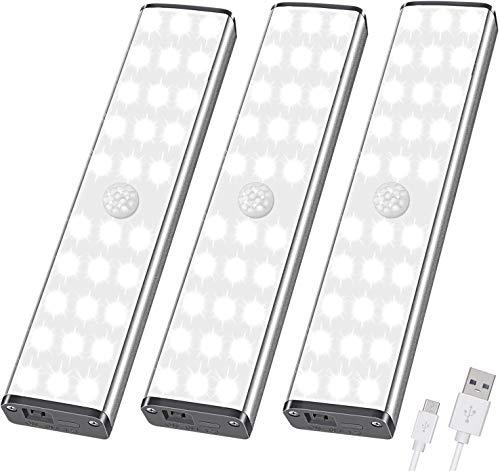 LED Luz Armario con Sensor de Movimiento - 30 luz de noche LED, luz de armario, lámpara de noche USB con 3 niveles de brillo para habitaciones y cocinas de niños, luz de pasillo, 3er Set