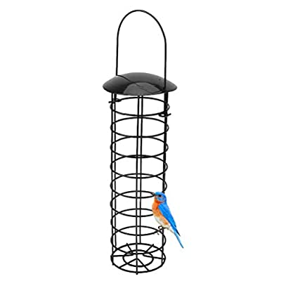 Jackallo Outdoor Hanging Bird Feeders, Iron Wire Hanging Bird Seed Feeder Container Hanger Hanging Ports Seed for Outdoor Garden by Jackallo