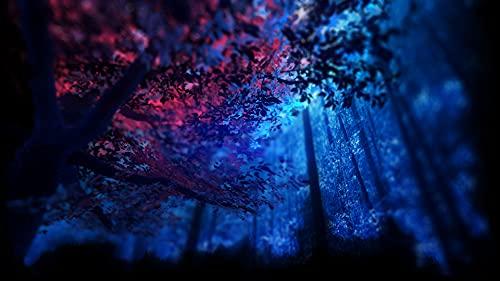 Bdgjln Puzzle 1000 Piezas-Bosque Azul oscuro-Estrésdesafíoescenarompecabezasjuegoeducativojuguetesadultosparaniños-50x75cm