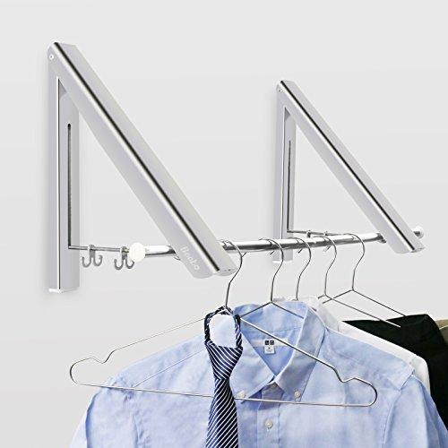 Becko klappbar Aluminum Kleiderhaken Kleiderständer Garderobenhaken Wandhaken aus Geeignet für Wohnzimmer, Bad, Schlafzimmer, Büro praktisch platzsparend 40 × 28 × 32.5cm (2 pcs mit Metallstange)