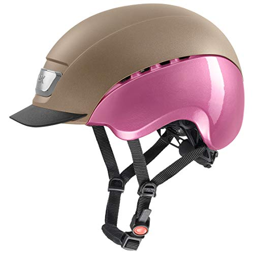 uvex Unisex– Erwachsene, elexxion pro ltd Reithelm, champagner mat-pink shiny, 57-59  cm