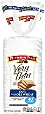 Pepperidge Farm Very Thin Sandwich Bread 100% Whole Wheat, 16.0 Ounce, (Pack of 2)