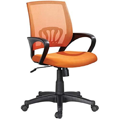 BAKAJI Kite - Silla de escritorio giratoria con reposabrazos y ruedas, altura ajustable, color naranja