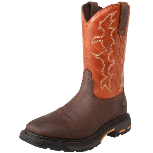 Ariat Men's Workhog Wide Square Toe Work Boot, Dark Earth/Brick, 10 2E US