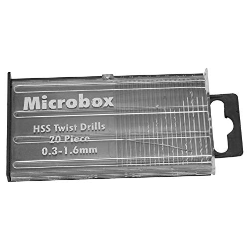 0.3mm-1.6mm 20pcs HSS Juego de Brocas Helicoidales de Acero de Alta Velocidad Mini Kit de Broca Helicoidal de Precisión