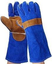RanDal 35 cm Heavy Duty Black Mig rękawice spawalnicze mankiety spawarka skóra pogrubiona rękawica - niebieskie