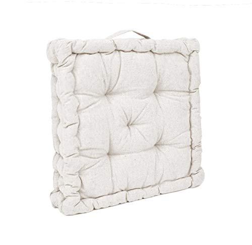Thesecrethome.es   Cojín de Suelo   Cojines Acolchados para Silla de 40 x 40 cm para Interior y Exterior con asa   100 % algodón   Decoración hogar Ideal para jardín o terraza (Crudo, 1)