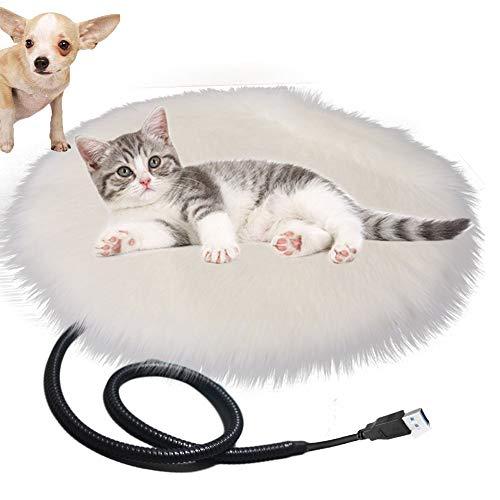Queta Alfombrilla Calefactora para Gatos Perros Mascotas, Manta Calefactora USB Recargable para Perros Gatos Innovadores Alfombrilla Calefactora, Diametro: 40cm Temperatura: 28°C (Blanco)