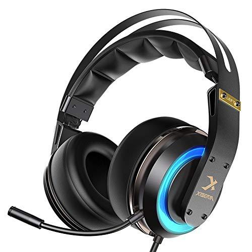 TNXB XHN Casque Gaming Stéréo PS4, PC Compatible avec Mic, Réduction du Bruit, Isolation du Bruit, Lumière LED pour PC Gamers