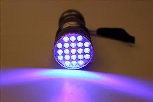 Linterna UV 395-400 nm impermeable con 21 ledes de luz negra ultravioleta, lámpara de luz de secado de pegamento para montaje de moscas para la pesca