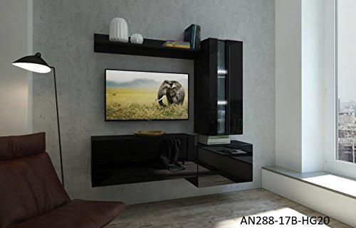 Home Direct Nancy N288, Modernes Wohnzimmer, Wohnwände, Wohnschränke, Schrankwand (Schwarz Matt Base/Schwarz HG Front (HG20), Möbel)