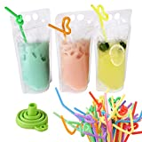 Pouches for Drinks With Straws, Drink Pouches for Adults Kids 100 Pcs, Plastic Straws 100 Pcs, Silicone Funnel, Hand-held Translucent Frosted Reclosable Stand-up Bag for Cold & Hot Drinks