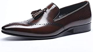 HMJZLwe Men's Dress Shoes Tassels Slip-on Business Casual Shoes Leather Pointed-Toe Shoes (Color : Coffee, Size : 38 EU)