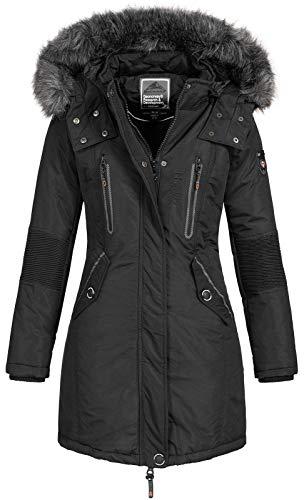 Geographical Norway - Chaqueta Coracle/Coraly de invierno para mujer con capucha de pelo, XL Negro II M