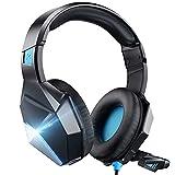 Gaming Headset für PS4 PS5 Xbox one PC Switch, 3D Surround Sound Kabelgebundenes Gaming Headset mit 50MM-Treiber, LED Over-Ear Gaming Kopfhörer mit Noise Cancelling Mikrofon