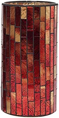 "Hosley Mosaic Glass Tea Light Candle Holder - Your Choice of Colors and Size. Ideal Gift for Wedding Party Favor Spa Home Bridal Reiki Meditation O7 (A-Red, 7.8"" High)"