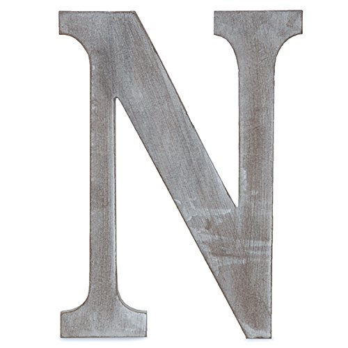 "The Lucky Clover Trading N Wood Block, 14"" L, Charcoal Grey Wall Letter, Gray"